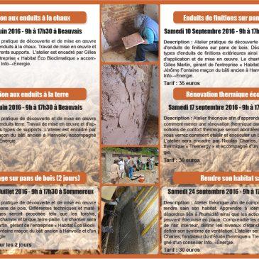 Ateliers d'éco-construction de la Bergerette – Programme 2016