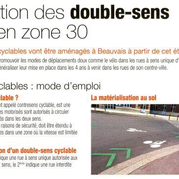 Les doubles-sens cyclables à Beauvais en zone 30 vont se généraliser!
