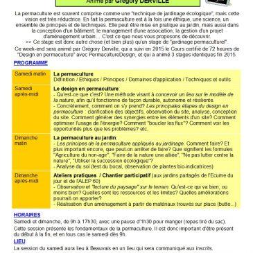 4ème stage d'initiation à la permaculture à Beauvais